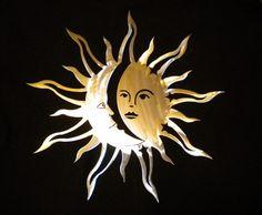 Rustic Wood Crafts, Sun Wall Decor, Cute Clown, Moon Images, Moon Illustration, Sun Moon Stars, Freemasonry, Welding Art, Paper Beads