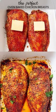 Perfect Oven Baked Chicken Breast - Gal on a Mission - - Perfect Oven Baked Chicken Breast are incredibly juicy and flavored with the perfect amount of seasonings. Foolproof tip shared on how to bake the juiciest chicken breasts ever. Garlic Butter Chicken, Oven Baked Chicken, Chicken Bites, Baked Chicken Recipes, Crockpot Recipes, Cooking Recipes, Easy Recipes, Simple Baked Chicken, Healthy Chicken