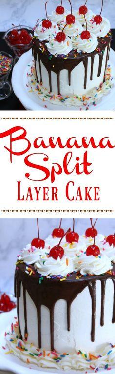 Banana Split Cake Ice cream desserts Bananas and Cake