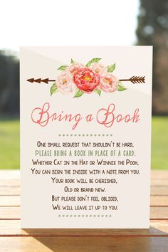 Bring a book instead of a card Bring a book by MyPrintableArts