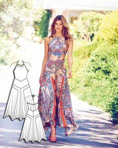 Open Back Maxi Dress: Burda style Diy Clothing, Sewing Clothes, Dress Sewing Patterns, Clothing Patterns, Fashion Sewing, Diy Fashion, Open Back Maxi Dress, Look 2018, Top Wedding Dresses