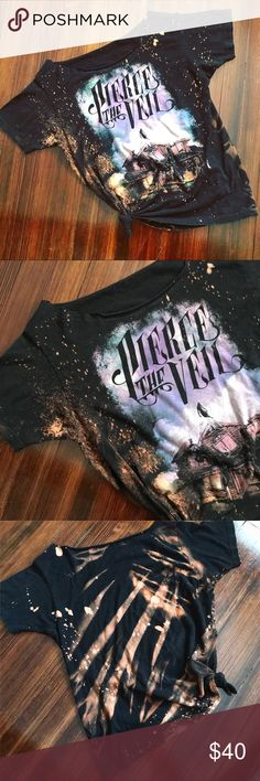 c u s t o m : restyled + bleached PTV band tee c u s t o m PIERCE THE VEIL bleach splattered the shoulder tied up grunge t-shirt.  • size: large -meant to be oversized- • hella soft cotton fabric • the only one of its kind!  #revampdlife #custom #wearableart #fashionstatement #distressedtee #bleached #restyled #refashioned #style #ownit Hot Topic Tops Tees - Short Sleeve