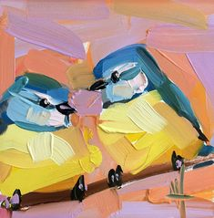 Two Blue Tit Birds no. 20 Art Print by Angela Moulton 8 x 8 inch. Digital art print on Canson fine art paper. Image size is 8 x 8 inch. Comes with small white edge. Packaged with stiff backing in a clear sleeve. Love Painting, Texture Painting, Oil Painting Techniques, Blue Tit, Colossal Art, Guache, Fine Art Paper, Les Oeuvres, Art Projects
