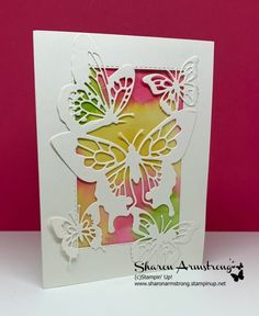 Card 4 in this Card Making class Introduction by Sharon Armstrong. Beauty Abounds by Stampin' Tarjetas Stampin Up, Butterfly Cards, Butterfly Cutout, Butterfly Template, Butterfly Dragon, Monarch Butterfly, Karten Diy, Bee Cards, Stamping Up Cards