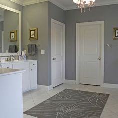 painting my bathroom and laundry room this color. sherwin williams - gray clouds