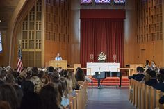 Katherine Ogden '16 giving a Chapel Service in March, 2016.