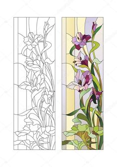 İndir - Kılıç çiçeği desenle vitray — Stok İllüstrasyon