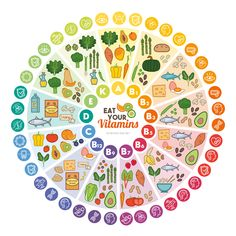 nutrition - Vitamin vegan food sources and functions rainbow wheel chart with food icons healthy eating and healthcare concept Poster Nutrition Chart, Vegan Nutrition, Health And Nutrition, Nutrition Guide, Nutrition Poster, Nutrition Products, Nutrition Club, Nutrition Classes, Health Foods