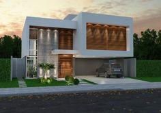 Home | Fernando Farinazzo Arquitetura Modern Exterior House Designs, Modern House Facades, Cool House Designs, Modern House Design, Exterior Design, Modern Architecture, Duplex Design, Villa Design, Arch House