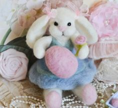 Needle Felted Handmade Bernice Bunny OOAK Lop Eared♥ by thefeltedcottage, $55.00 Too CuTe♥