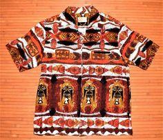 896f30cd5 1960s Vintage Iolani Tribal Tiki Hawaiian Shirt Vintage Hawaiian, Aloha  Shirt, Shirt Jacket,