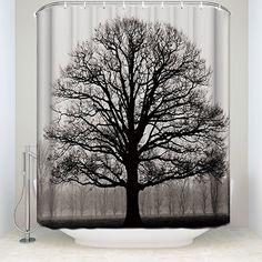 Tree of Life Chinese Bonsai Bohemian Evil Eye Beads Extra Long Shower Curtain