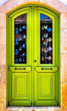 Cool Doors, Unique Doors, Stairs Window, Doorway, Door Entryway, Entrance Doors, Gates, Behind The Green Door, Rethymno Crete