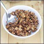 From the Healthy Homemade Cereals Breakfast Recipe Collection. This is a nice granola to have as a cereal with milk. Try adding mini chocolate chips at at the end to make Double Cocoa Granola.