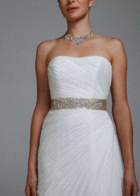 Finish off your look with this timeless matte satin beaded leaf sash! Intricate bead leaf detail is elegant and chic. Self tie back. Fully lined. Dry clean only.A smooth fabric often used in bridal gown design because of its exquisite drape. Wedding Sash, Bridal Sash, Davids Bridal, Bridal Gowns, Wedding Gowns, Satin Sash, Wedding Dress Accessories, Matte Satin, Wedding Styles