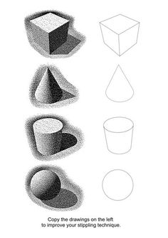 Ink Drawing value exercises (Copy the drawings on the left to improve your stippling technique) - Learn how to create a masterpiece with these pointillism tips. Drawing Lessons, Drawing Techniques, Art Lessons, Drawing Tips, Elements And Principles, Elements Of Art, Classe D'art, Art Handouts, Stippling Art