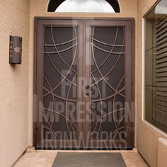 Contemporary Custom Flat Bar Iron Gate by First Impression Ironworks provides security and beauty to your home. Iron Front Door, Double Front Doors, Iron Gates, Iron Doors, Metal Pool, Beautiful Front Doors, Types Of Doors, Security Doors, Entry Doors
