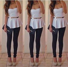 Bustier waisted white top with dark blue jeans and beige high heels ♥ Pinterest : Elisa Gyn