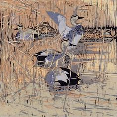 Robert Greenhalf (1950-): Gadwalls, woodcut