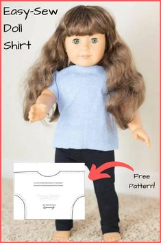 Tutorial and free 18 inch doll printable shirt pattern that is so simple even kids can sew it! Fits American Girl Dolls and other 18 inch dolls. My girls even put these shirts on their Bitty Babies! #Sew #dollclothes #sewing #sewingpattern Sewing Hacks, Sewing Tutorials, Sewing Crafts, Rainy Day Fun, Educational Activities For Kids, Raising Girls, Homemade Toys, Toddler Play, Diy Things