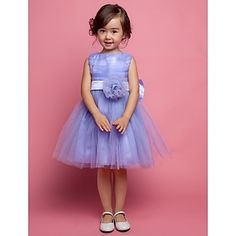 A-line Sleeveless Satin And Tulle bow(s) Wedding/Evening Flower Girl Dress  – USD $ 49.99