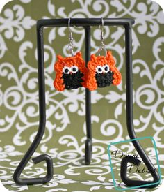 Olga Owl Earrings Free Crochet Pattern from Divine Debris