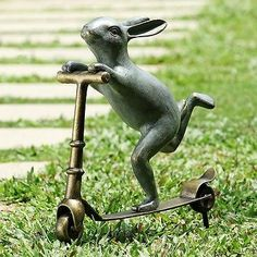 Scooter Bunny Rabbit Garden Sculpture Whimsical Metal Garden Statue,23u0027u0027H
