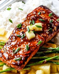 Asian BBQ Salmon - Sweet and Tangy Asian BBQ Salmon dripping with flavor from the most INCREDIBLE glaze but one of the easiest meals to throw together Diner Recipes, Tailgating Recipes, Grilling Recipes, Crockpot Recipes, Goulash Recipes, Baked Salmon Recipes, Fish Recipes, Seafood Recipes, Vegetarian Recipes