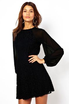 Black Lace Vintage Dress with Blouson Sleeves https://www.modeshe.com #modeshe @modeshe #Black