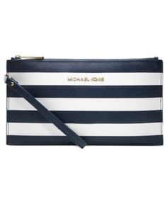 Who wouldn't want a red and white striped Michael Kors clutch? Pair with some blue and stars! Michael Kors Jet Set, Michael Kors Wallet, Handbags Michael Kors, Nautical Stripes, Designer Wallets, Clutch, Fashion Bags, Fashion Site, Women's Fashion