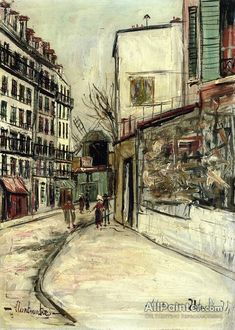 Maurice Utrillo Rue Lepic In Montmartre oil painting reproductions for sale
