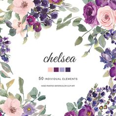 Watercolor plum, lavender, blush pink and dark purple flowers clipart. Roses and wax flowers - 50 separate elements. They are great when used for enriching your special events invitations, scrapbook photos, greeting cards, and many other DIY projects. All images are 300dpi.