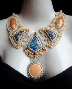 Beautiful jewelry by Oksana Petriv | Beads Magic I'm in love with this. The colors are wonderful.