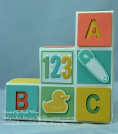 Nicole Wilson, Independent Stampin' Up! Demonstrator Baby block card