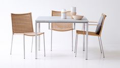 Kitchen Dining, Dining Room, Dining Chairs, Dining Table, Office Furniture Design, Table Settings, Weaving, Indoor, Stainless Steel