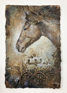 08097a14a Horse painting, original Western Art, realistic small acrylic art, textured  on handmade paper, Contemporary Decor, MimziArt