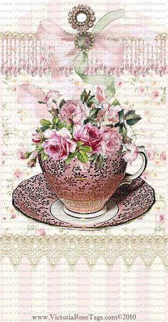 Cottage Roses Teacups Set 2
