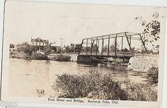 1946 BURLEIGH FALLS Ontario RPPC Postcard PARK HOTEL and BRIDGE River Park Hotel, Ontario, Paris Skyline, Postcards, Bridge, Canada, River, Places, Lugares