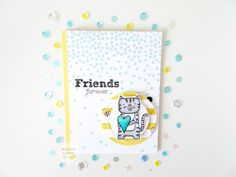 Friends Fur-ever: A fun background using the Charming Cascades stamp set and Friendly Pets set,