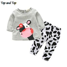 Cool high quality winter hot sale baby girl clothes casual long-sleeved T-shirt+Pants suit Tracksuit the cow suit of the girls - $15.66 - Buy it Now!