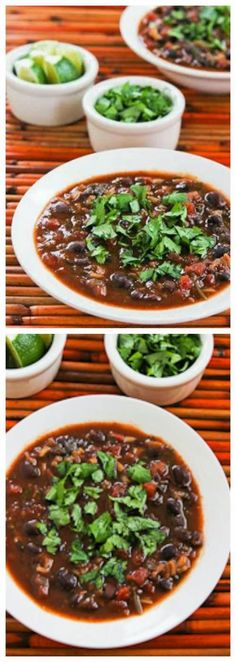 Slow Cooker Vegetarian Black Bean and Rice Soup with Lime and Cilantro is one of the best soups I've ever made in the slow cooker! PIN NOW so you'll have it when it's soup weather!  [from Kalyn's Kitchen; featured on Slow CookerFromScratch...]