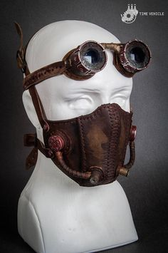 Postapocalyptic Mask Biker Mask Fallout Mask Light Gas Steampunk Mask, Steampunk Costume, Steampunk Fashion, Biker Mask, Motorcycle Mask, Leather Mask, Leather Buckle, Objet Deco Design, Dystopian Fashion