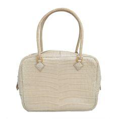Hermes Paris Crocodile 20 cm Beige Rose Mini Plume Handbag