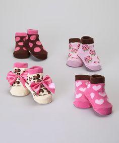 This Baby Essentials Brown  Pink Socks Set by Baby Essentials is perfect! #zulilyfinds