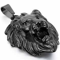 Stainless Steel Roaring Lion Head Charm Rock N' Roll Mens Pendant Necklace Black #Unbranded #Pendant