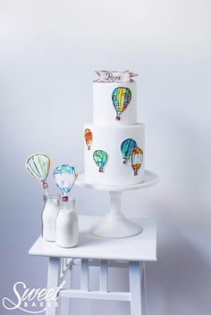 Hot air balloon cake & cookies by Alisha Henderson @ Sweet Bakes  www.facebook.com/sweetbakess