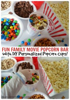 A DIY Popcorn Bar is a great way to add more fun to your next movie night! Pop up some Pop Secret Popcorn and set out everyone's favorite candy choices so they can create their own yummy snacks.
