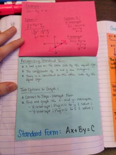 Standard Form of a Linear Function Notes…..This blog site is awesome with printables from her interactive notebooks. LOOK AT IT!!!!!!