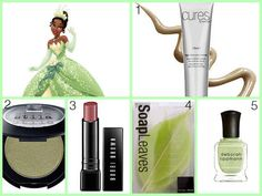 "Frog-inspired beauty is actually really pretty.  1. Cures Algae Deep Pore Cleanser, $34, Dermstore.com. 2. Stila Eye Shadow in ""La Douce,"" $18, Sephora. 3. Bobbi Brown Creamy Lip Color in ""Italian Rose,"" $25, Sephora. 4. SoapLeaves Hand Soap, $4.99, Vat19.com. 5. Deborah Lippmann Nail Polish in ""Spring Buds,"" $18, Deborah Lippmann."