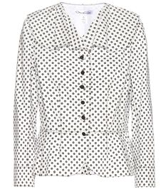 Oscar de la Renta - Cotton jacket - Oscar de la Renta keeps things chic and classic with this cropped blazer. In timeless black on white, a standout floral print adds a statement-making punch. Wear yours with a belt to cinch in the waist and show of the peplum silhouette. seen @ www.mytheresa.com